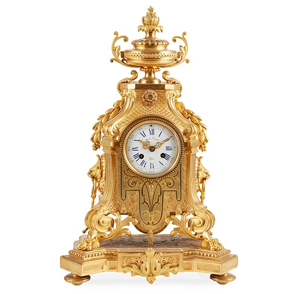LOUIS XIV STYLE GILT BRONZE MANTLE CLOCK, BY SUSSE FRERES, PARIS